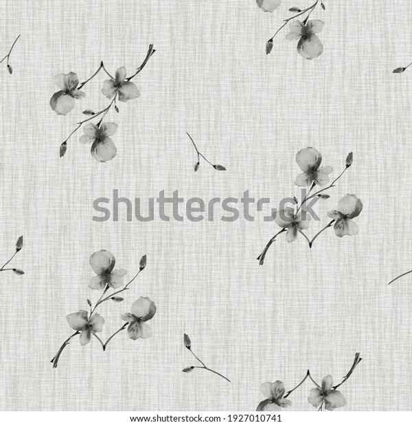 Watercolor seamless pattern wild  small gray flowers on the linen gray background