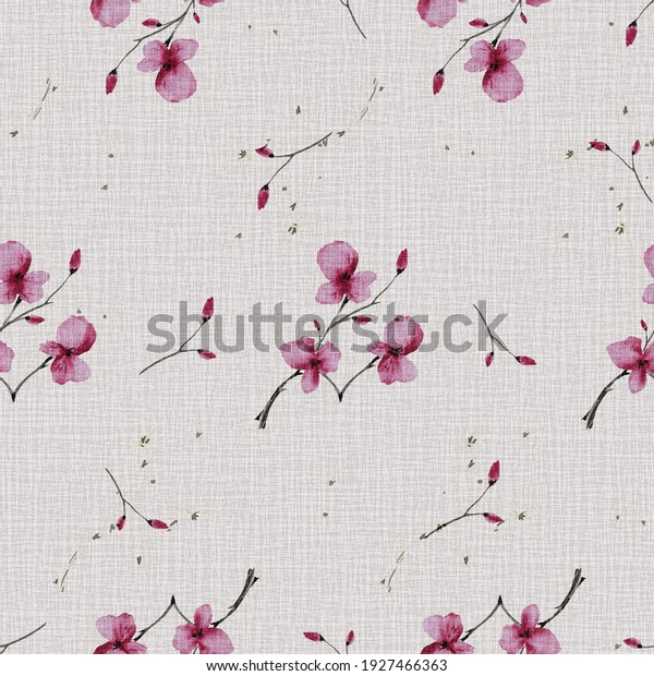 Watercolor seamless pattern wild  small pink flowers on the linen pink background