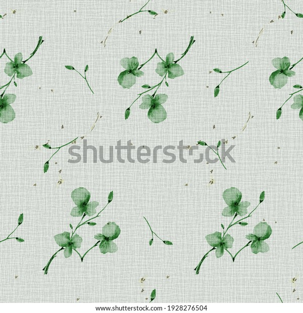 Watercolor seamless pattern wild  small green flowers on the linen green background