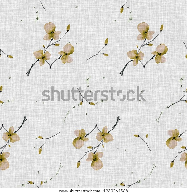 Watercolor seamless pattern wild  small spring green flowers on the linen beige background