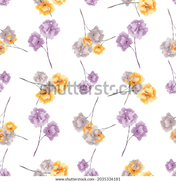 Watercolor seamless pattern wild  small yellow and violet flowers on a white background