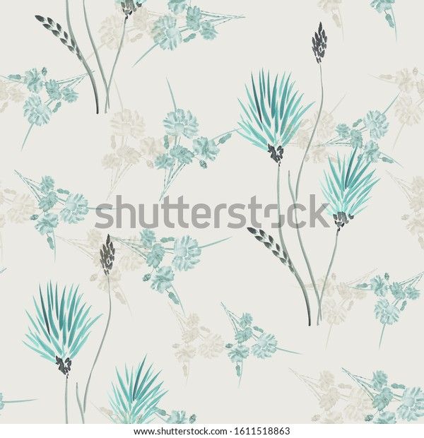 Watercolor seamless pattern of wild turquoise and beige flowers on a light gray background.