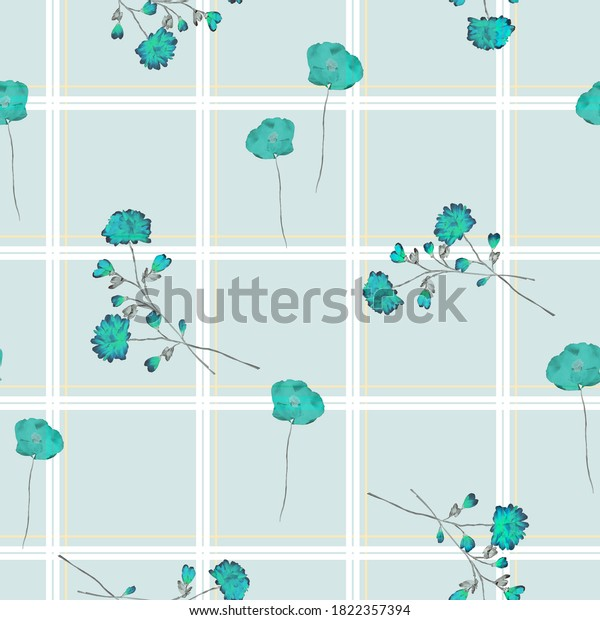 Watercolor seamless pattern of wild turquoise flowers in a white and yellow cell on a light turquoise background