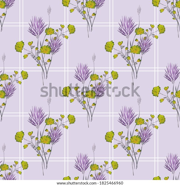 Watercolor seamless pattern of wild violet and green flowers in a white cell on a light violet background