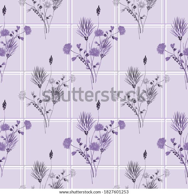 Watercolor seamless pattern of wild violet and gray flowers in a gray and white cell on a light violet background