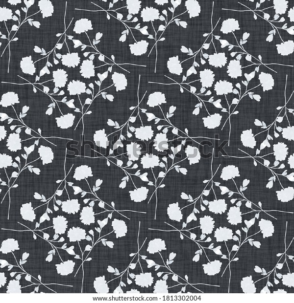 Watercolor seamless pattern wild  white flowers on a linen black background