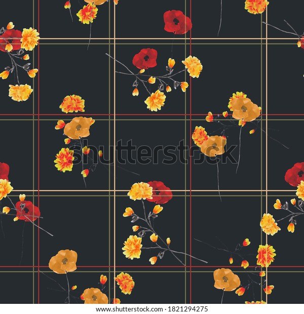Watercolor seamless pattern of wild yellow and red flowers  in a  red and beige cell on the black background.