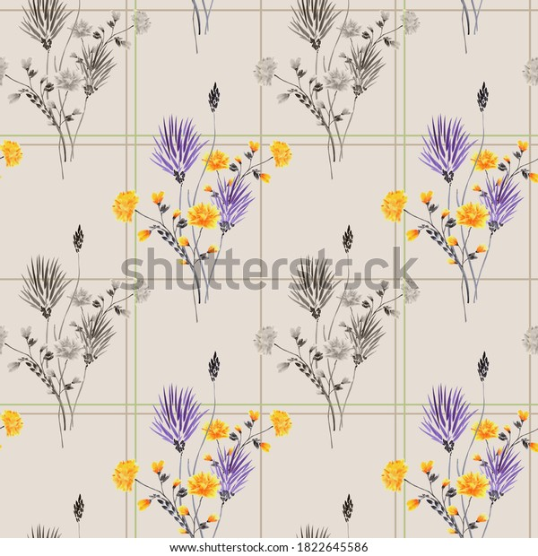 Watercolor seamless pattern of wild yellow, violet and gray flowers in a beige and green cell on a light beige background. Watercolor