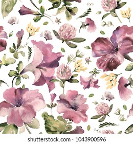 Watercolor seamless pattern of wildflowers and petunias, pattern for fabric and wallpaper, for design and decoration.