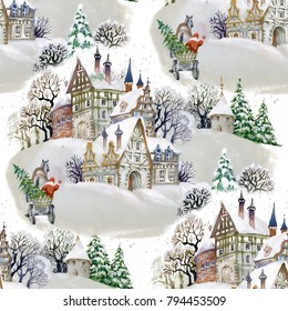 Watercolor seamless pattern with  winter landscape in the village