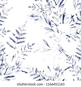 Watercolor seamless pattern witn eucalyptus branch, protea and fern. Hand drawn illustration. Floral background