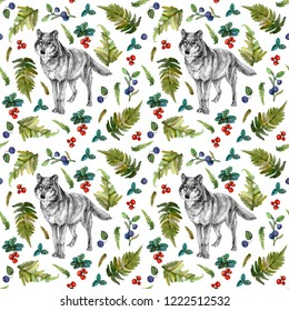 Watercolor seamless pattern with wolf, fern green leaves, blueberry and cow berry. Wild animal, plants and berries