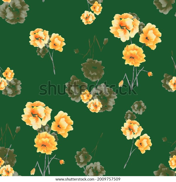 Watercolor seamless pattern of yellow and beige flowers and bouquets on a dark green background