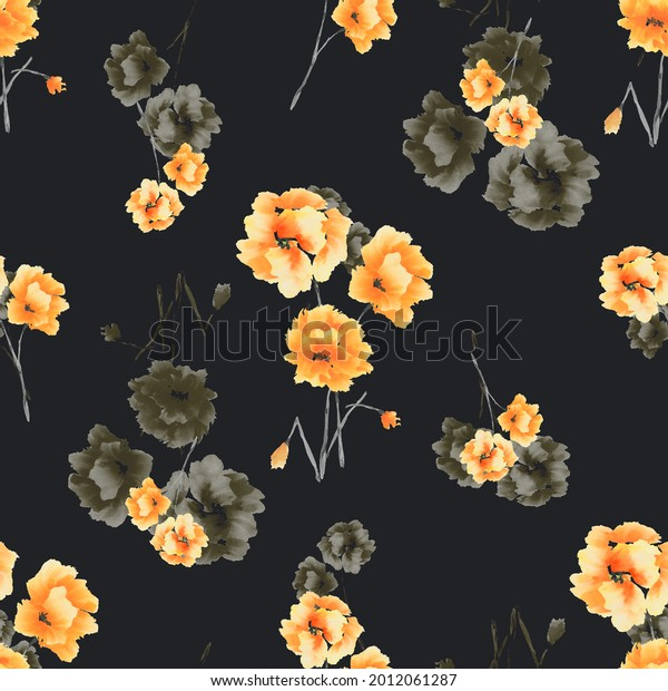 Watercolor seamless pattern of yellow and beige flowers and bouquets on a black background -2
