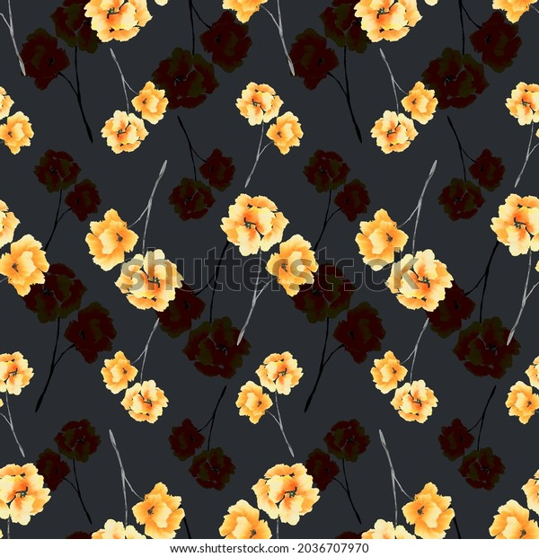 Watercolor seamless pattern of yellow flowers and bouquets on the black background