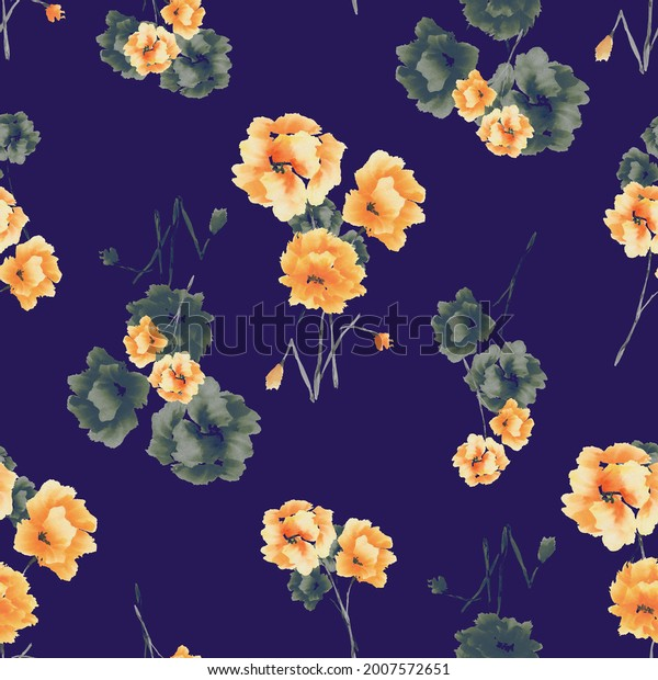 Watercolor seamless pattern of yellow and green flowers and bouquets on the dark violet background