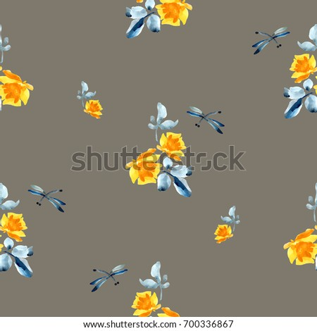 Watercolor seamless pattern with yellow roses, blue leaves and dragonfly on grey background