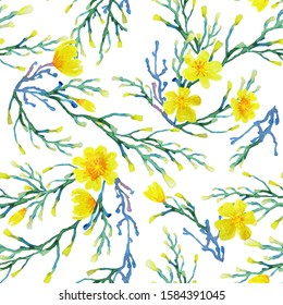 Watercolor seamless pattern with yellow spring abstract flowers without leaves, handmade, background.