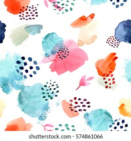 Watercolor seamless pattern,dot memphis fashion style, bright design repeating background. Hand painted fashionable brush shapes.