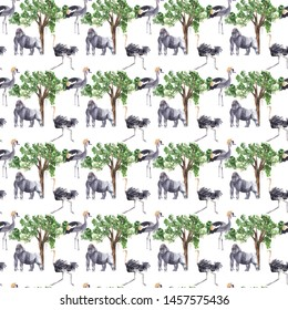 Watercolor seamless patterns with safari animals: hippo, vulture, gorilla. 300 dpi, 4000x4000px Textile & fabric design, scrapbooking, wall paper, packaging. Watercolor texture, background, backdrop