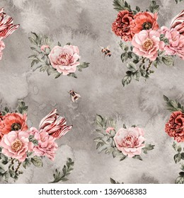 Watercolor seamless repeat patten. Grey background vintage flowers, leaves, hand painted pink roses, red poppies, tiger stripes tulip, soft pink peonies, burgundy carnation, bumblebees illustrations