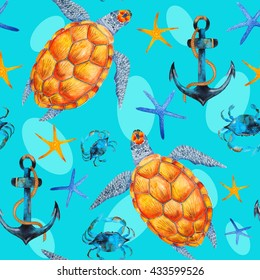 Watercolor seamless sea pattern with anchors, crabs, sea turtles and seastars