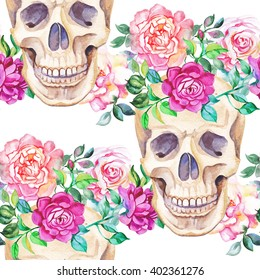 Watercolor seamless skull with roses flowers.