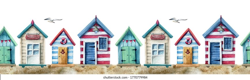 watercolor seamless strip with beach houses