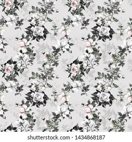 Watercolor seamless texture painted on paper with delicate roses pattern with buds and foliage. Excellent print for your design and decor.