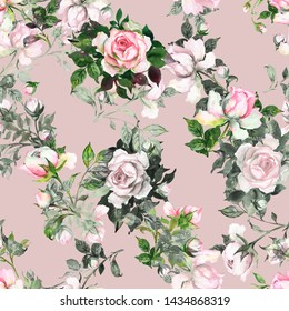 Watercolor seamless texture painted on paper with delicate roses pattern with buds and foliage. Stylish print for textile design and decoration.