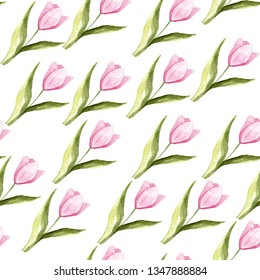 Watercolor seamless texture of tulips. For design, print or background.