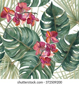Watercolor seamless tropical pattern with exotic flowers and plants, orchid. Palm and deliciosa leaves.