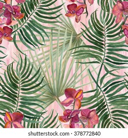 WAtercolor seamless tropical pattern with exotic flowers:  orhid.Palm  leaves.