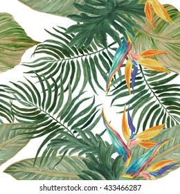 Watercolor seamless tropical pattern with exotic flowers: bird of paradise.Palm and deliciosa leaves.