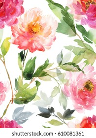 Watercolor seamless vertical pattern on a white background with pink and coral peonies.