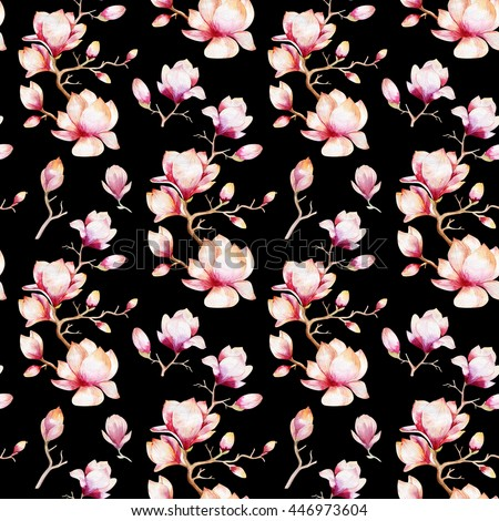 watercolor seamless wallpaper magnolia flowers leavesのイラスト素材