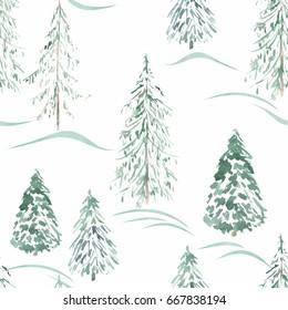 Watercolor seamless winter pattern . Winter forest.