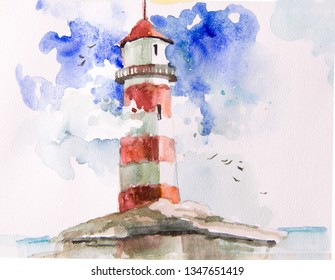 Watercolor seascape. Items summer vacation. Can be used to design greeting cards, wedding invitation,  birthday, calendar, photo album, posters, envelopes,  fabric,wallpaper,picture