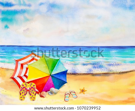 Watercolor Seascape Painting Colorful Sea Beach Stock Illustration ... 09421f585116e