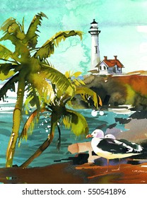 Watercolor seascape palms lighthouse turquoise waves seagulls backdrop hand painted background.
