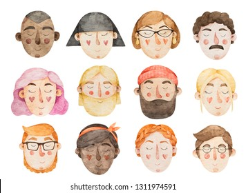 Watercolor set of 12 different portraits of women and men. Illustrations of women and men faces.
