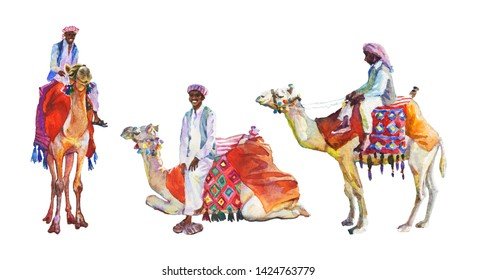 Watercolor set of arabian men and camels. Painting isolated illustration on white background