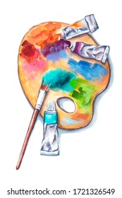Watercolor set of art supplies, wooden palette with tubes of paints and a brush isolated on white background. Realistic hand drawn illustration of home activity, art tools at work