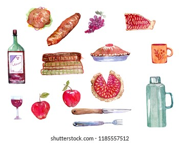 Watercolor set of autumn picnic goodies. Hand drawn isolated illustration on whitebackground.