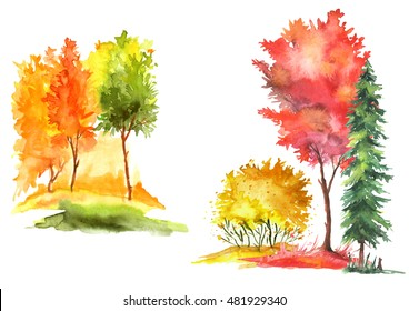 Watercolor set of autumn trees and bushes. Landscape, ladnshaft forests, parks, gardens, groves. Isolated on white background