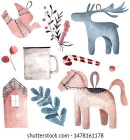 Watercolor set of autumn and winter scandinavian hygge elements. Hygge toys candy leaves. Cozy things isolated on white background.Can be used for greeting cards, posters, prints, stickers