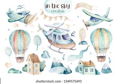 Watercolor set background illustration of a cute and fancy sky scene complete with airplanes, helicopters and balloons, clouds. Boy pattern. It's a baby shower illustration