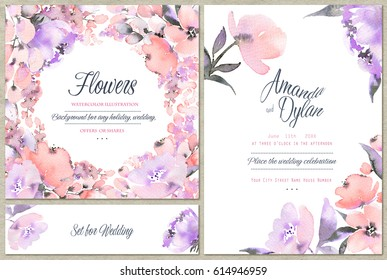 Watercolor set of backgrounds with floral elements. Can be used for wedding design, mothers day, valentines day, birthday cards and other.