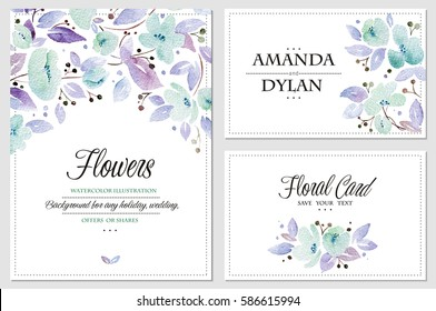 Watercolor set of backgrounds with lovely blue flowers. Can be used for mothers day, valentines day, birthday cards, wedding invitations.
