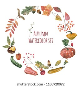 Watercolor set and border circle wreath with autumn elements, leaves, acorns, chestnut, berries, pumpkins, zucchini, wildrose and apple